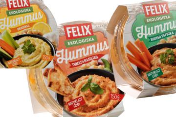 Hummus från Felix. Ekologisk, vegansk och vegetariskt.