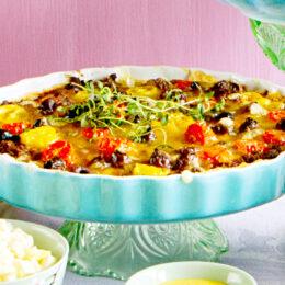 Vegetarisk Medelhavspaj med soltorkade tomater