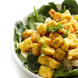 Vegetarisk krispig tofu med apelsin och mangochutney