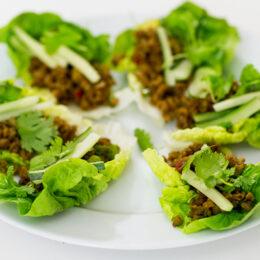Asiatisk vegetarisk sojafärs i salladsblad