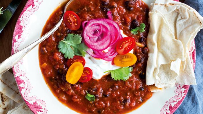 vegetarisk chili svarta bönor
