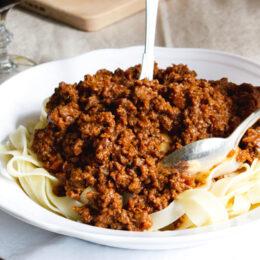 Vegetarisk Ragu alla bolognese (köttfärssås)