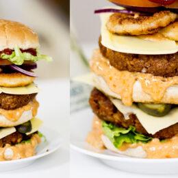 Vegetarisk XXL-burgare med klassisk hamburgardressing