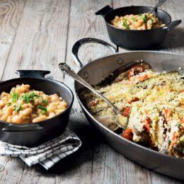 Vegetarisk Aubergine- och zucchinigratäng med bönragu