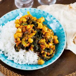 Vegetariska indiska kikärter med spenat