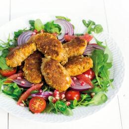 Vegetarisk Morotsfalafel med rasande röd sallad