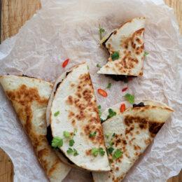 Vegetariska Quesadillas med frijoles