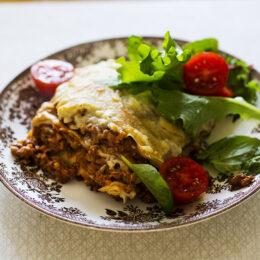 Äkta vegetarisk italiensk lasagne