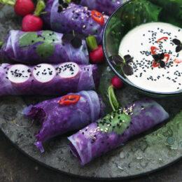 Vietnamesiska vegetariska sommarrullar med tahinisås