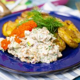 Vegetarisk skagenröra 2.0 med krossad potatis