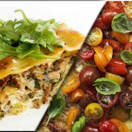 Fem vegetariska lasagner
